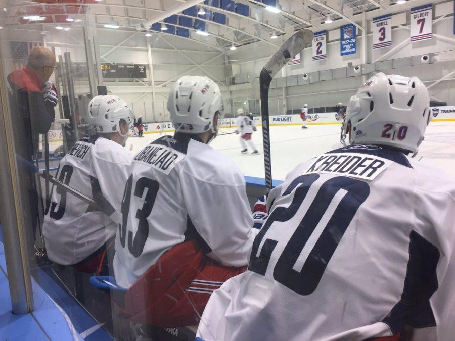 Chris+Kreider%2C+Mika+Zibanejad%2C+and+Pavel+Buchnevich+at+New+York+Rangers+training+camp.+