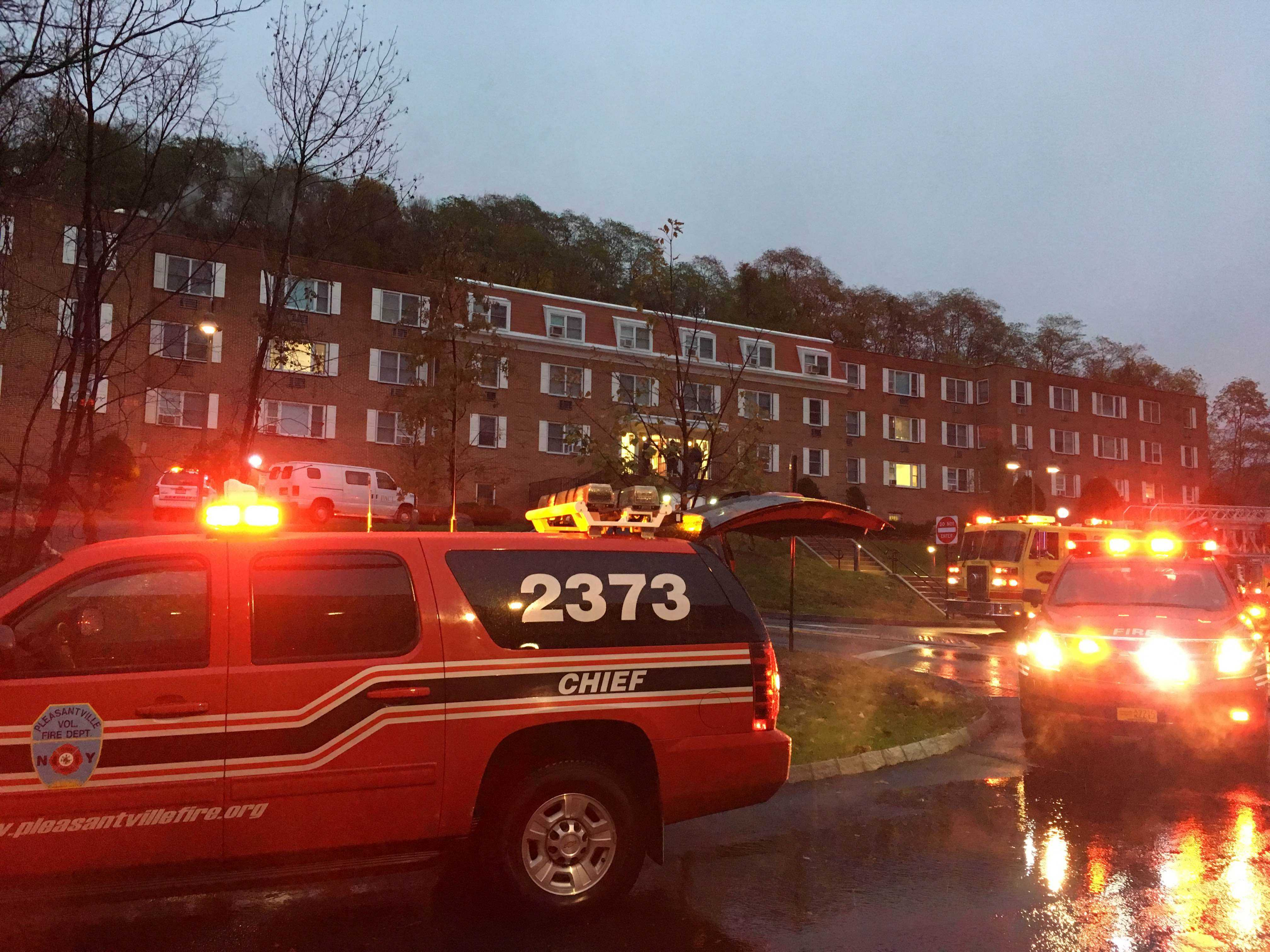 Fire fighters rush to Martin Hall after it was the subject of alleged arson. Photo by James Miranda.