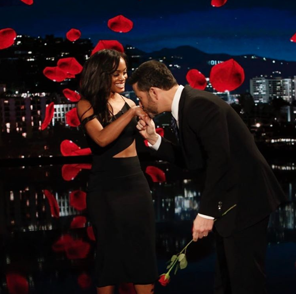 Rachel Lindsay and Jimmy Kimmel share a funny moment on Jimmy Kimmel Live!  (Courtesy of Lindsay's Instagram)