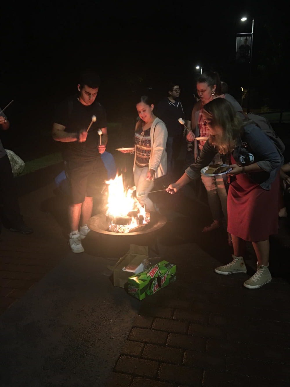 Students preparing to roast their marshmallows and make S'mores