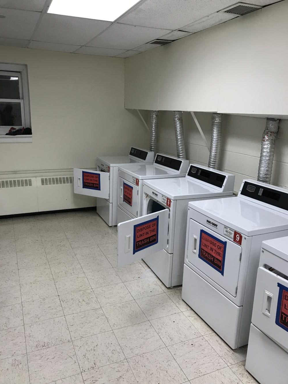 The 5 lonely dryers in Martin Hall's Laundry Room