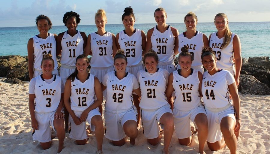 Pace+Women%27s+Basketball+Team+during+their+trip+to+Barbados.+Photo+Courtesy+of+Pace+U+Athletics+