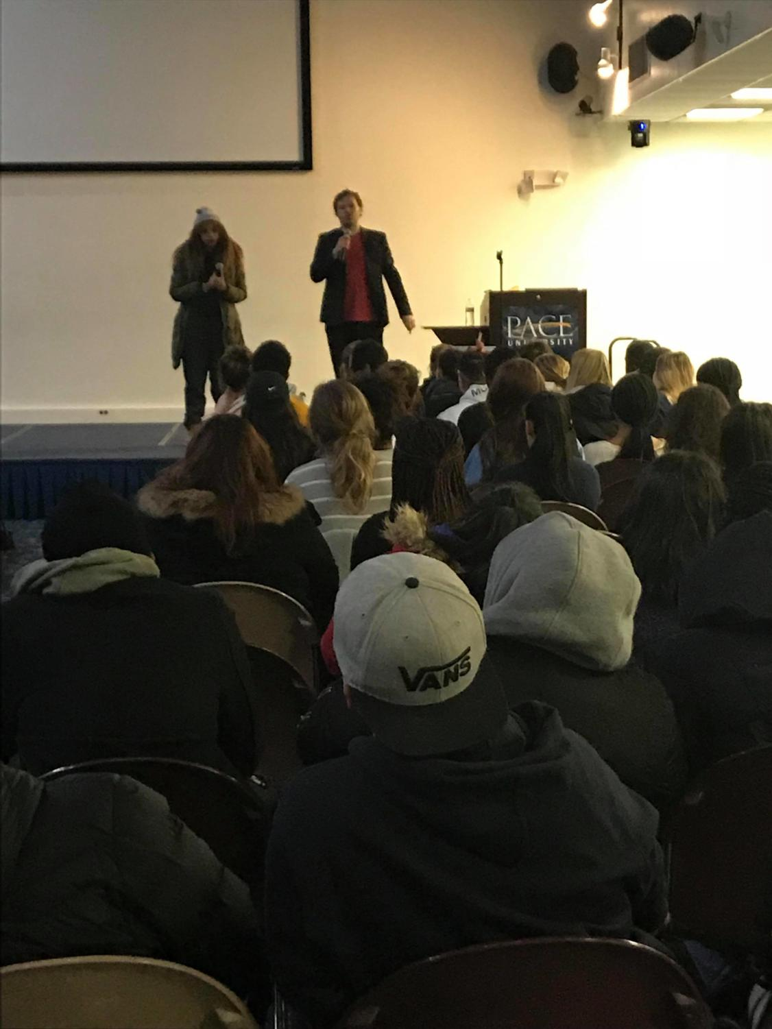 Kendra Lowe (left) and Sean Bott (right) during one of his audience based acts.