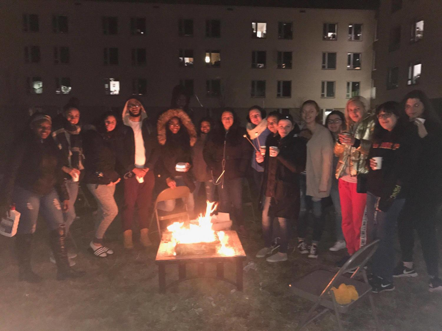 Students at High Definition's bonfire