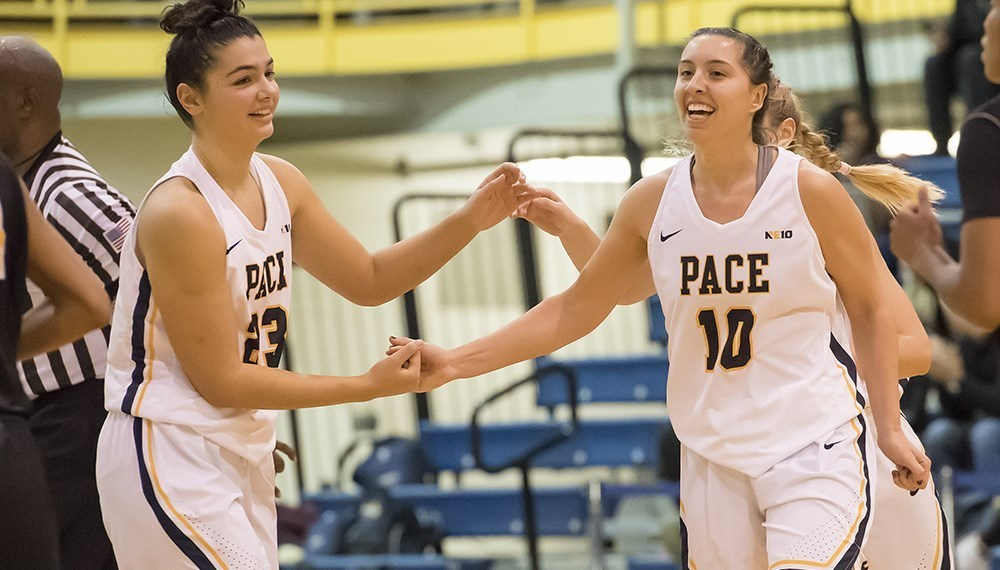 Freshman Iliana Krasnigi (left) and senior Gabriella Rubin (right) were two of nine scorers on the night in the Setters' victory over American International College. Photo Courtesy of Pace U Athletics.