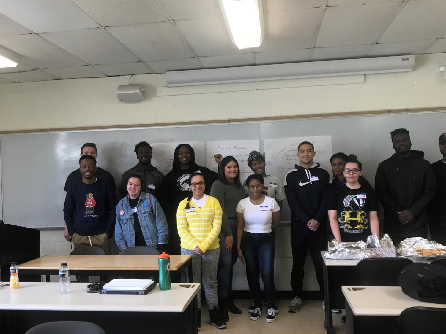 Members of Pace P.O.W.E.R. the Urban Male Initiative, and Pride at Pace at a student-led discussion on feminism on Wednesday afternoon