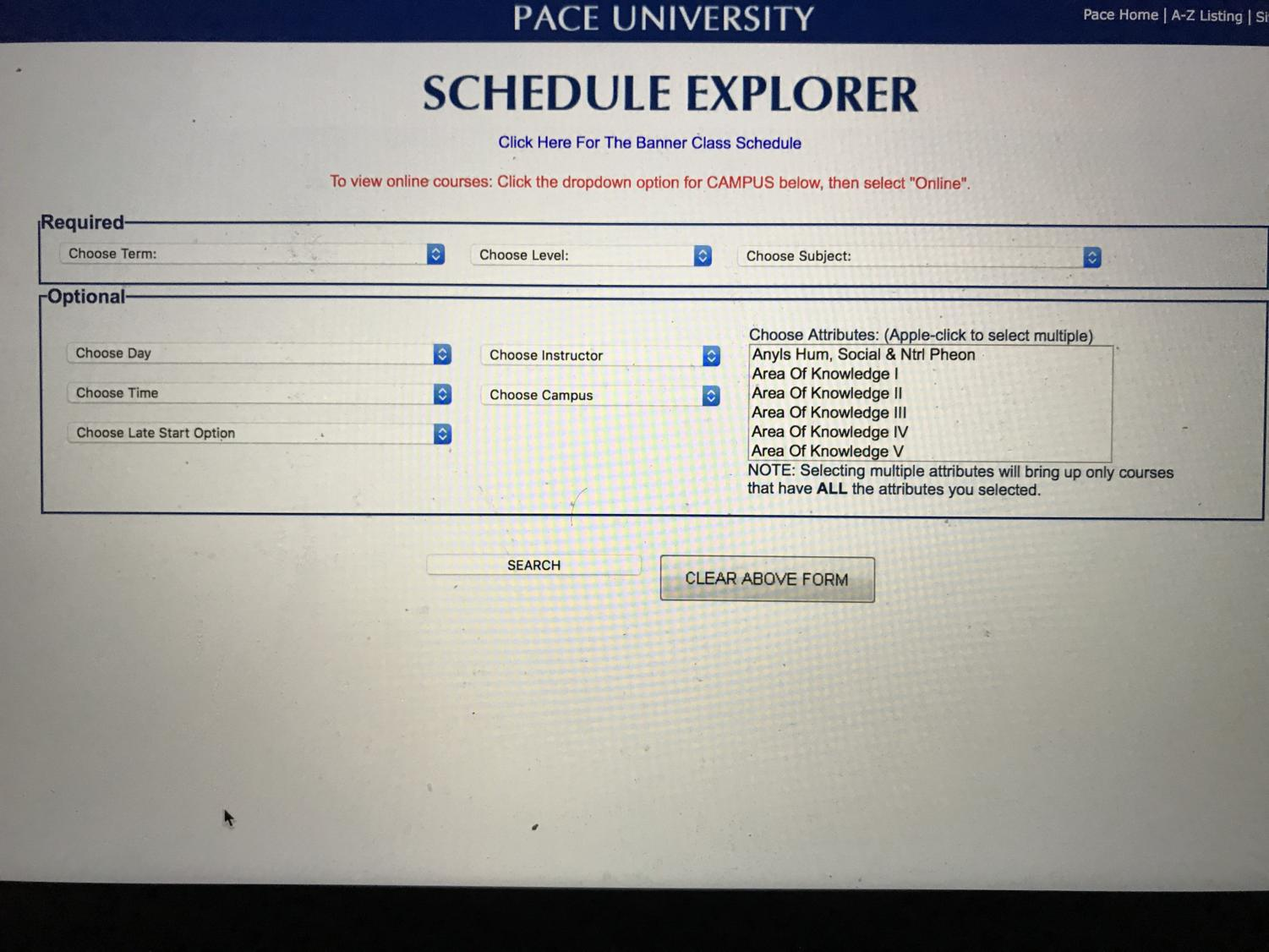 Schedule Explorer on Pace Portal, where to find classes offered. Photo taken by Josiah Darnell