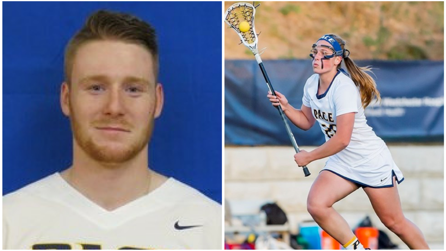 Men's lacrosse captain Wyatt Barfoot and Women's lacrosse captain Casey Gelderman discuss their duties as team captains. Photo Courtesy of Pace U Athletics.