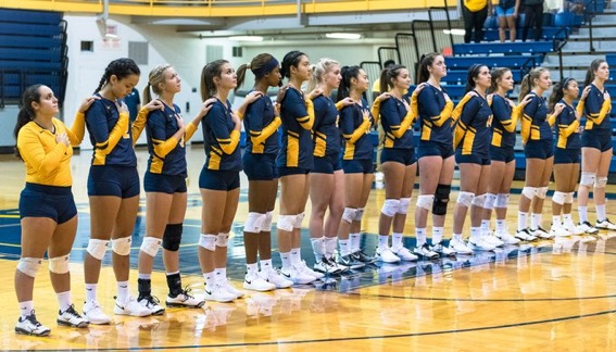 Pace Volleyball improved to 7-2 Tuesday night against East Stroudsburg in the team's second home game of the year. Photo Courtesy of Pace Athletics.