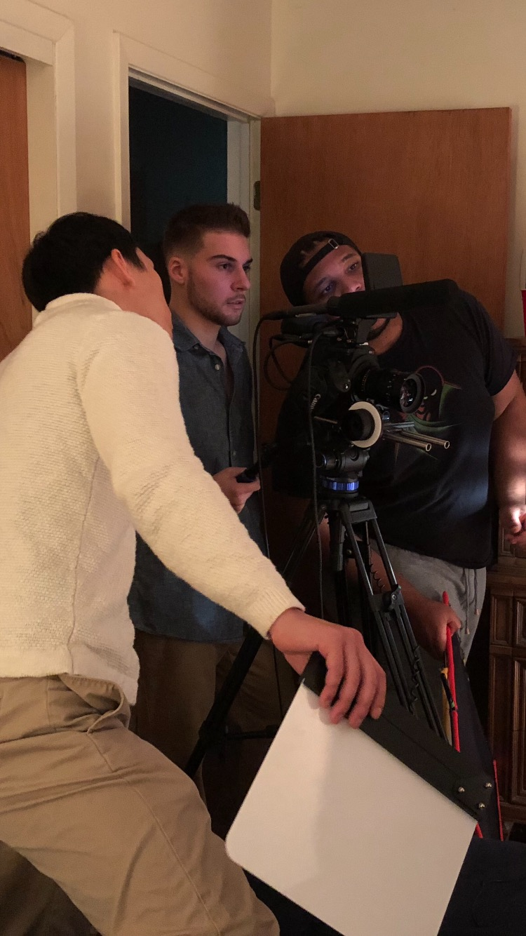 Nick Goodwin and his production crew on set for his film