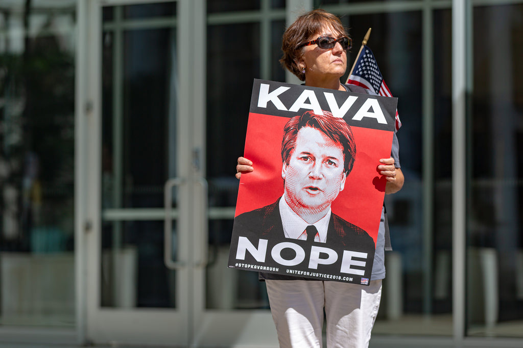 A protester against the confirmation of U.S. Supreme Court nominee Brett Kavanaugh outside the Warren E. Burger Federal Building in St. Paul, Minnesota.