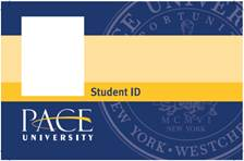Pace University ID card. The card that holds student's meal plan and flex dollars. Photo courtesy of google.