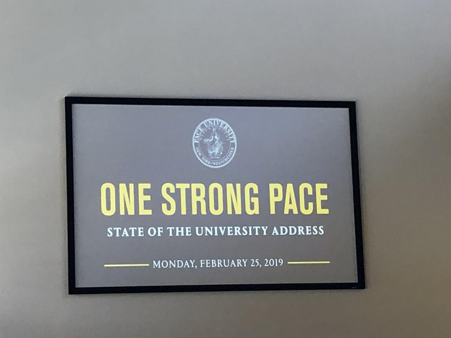 President Marvin Krislov gave his first State of the University address in his third semester at Pace.