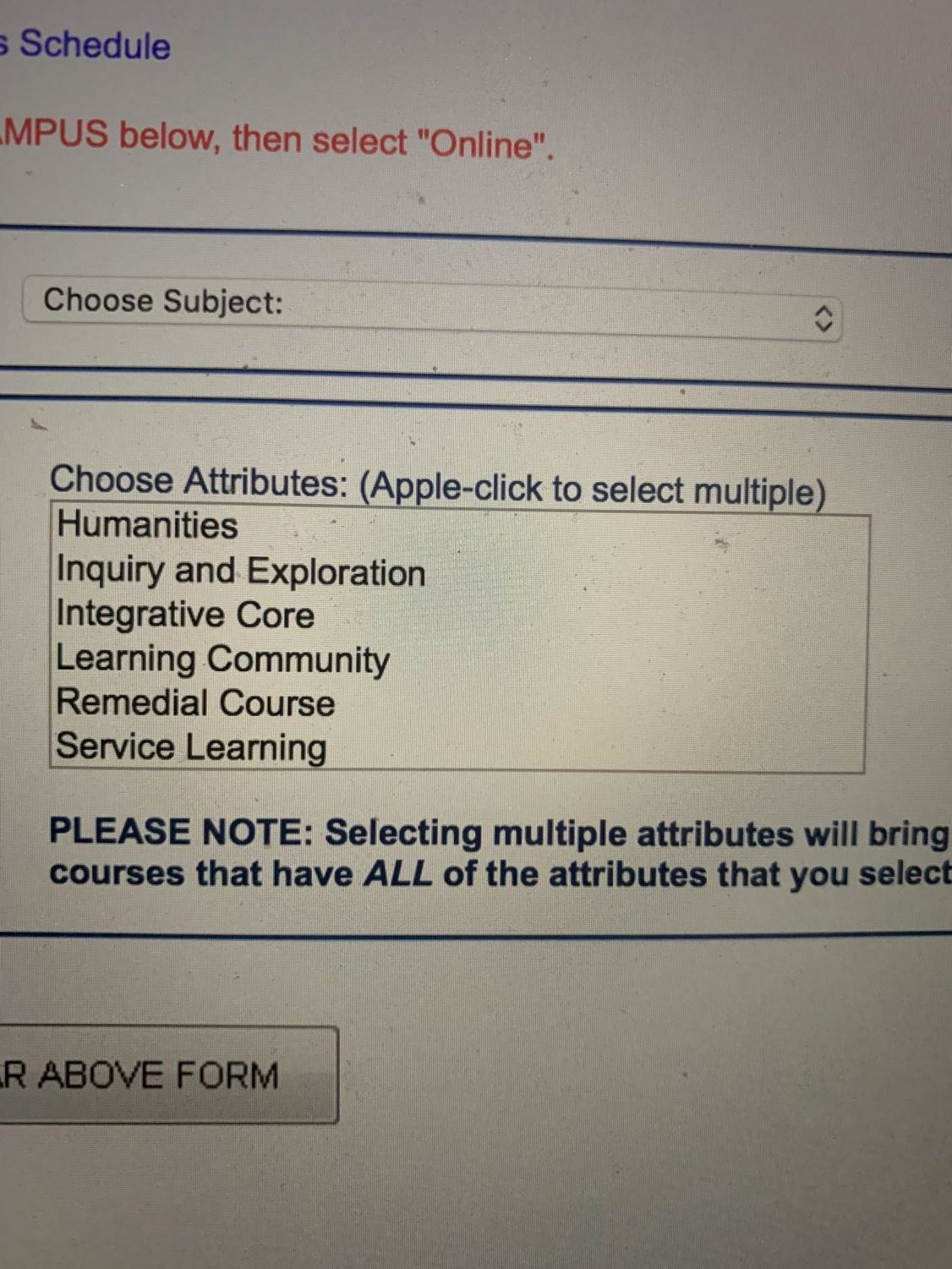 The attributes box on the schedule explorer page, where the learning community classes can be found.