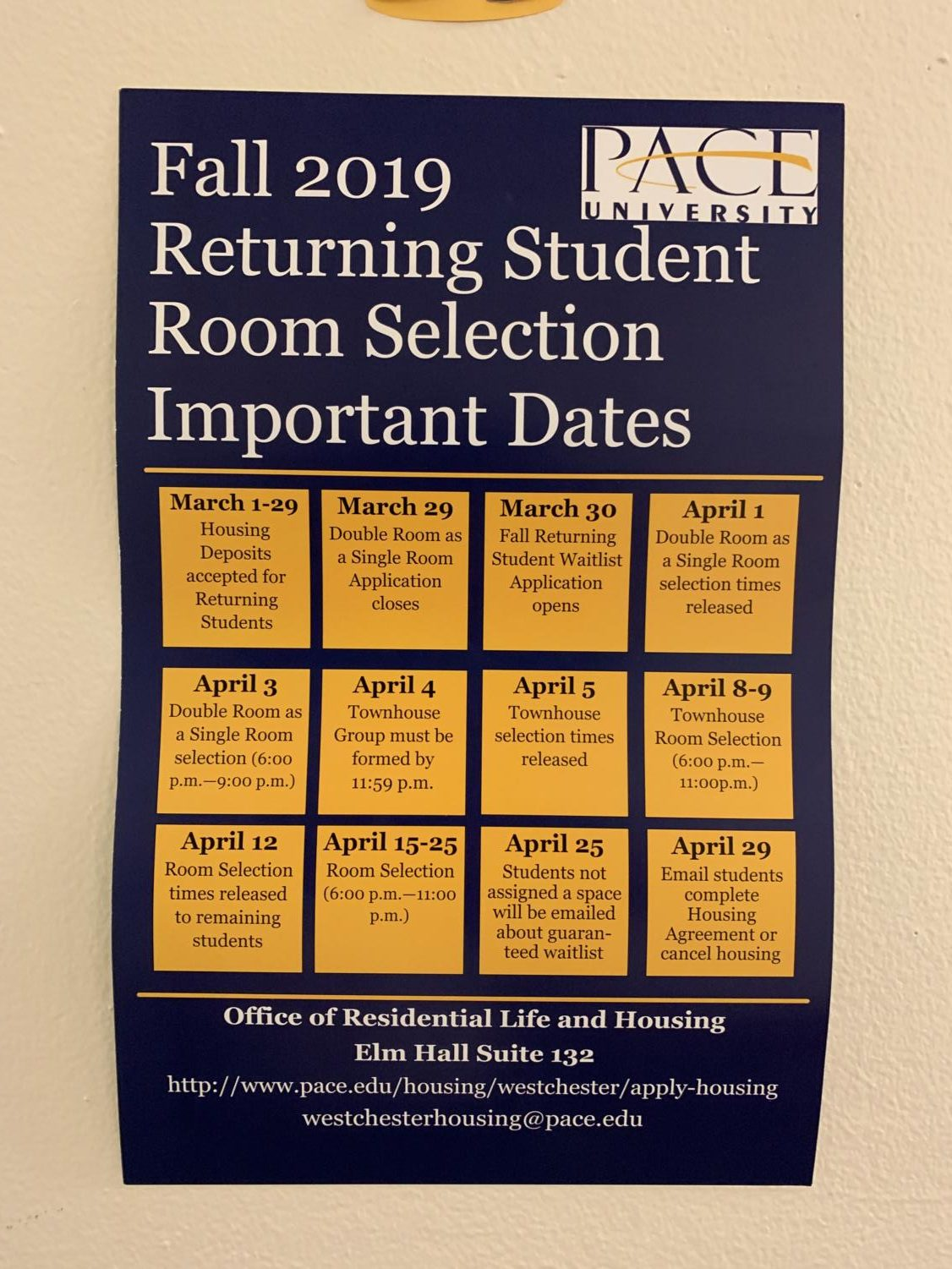 All information regarding housing selections and times are on these poster up around campus. Photo taken by Josiah Darnell.