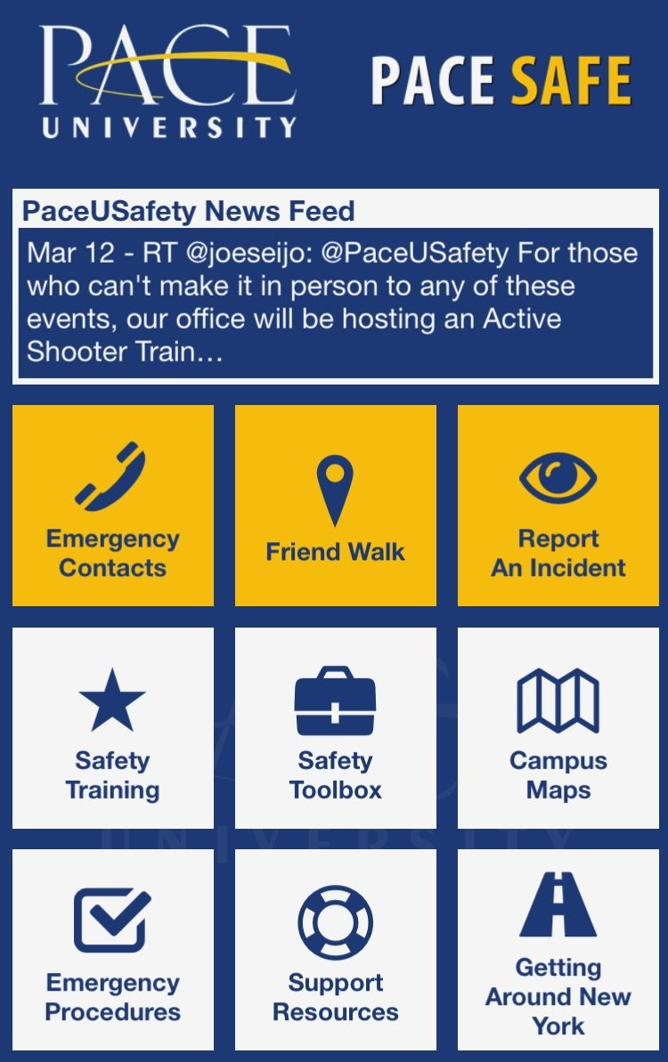 An inside look at some of the features that are available on the Pace Safe app homepage.