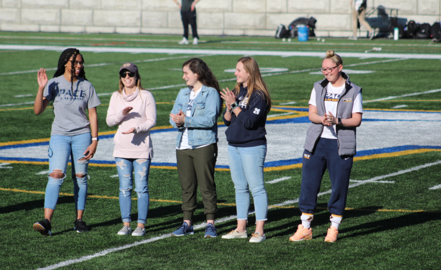 Pace+women%27s+lacrosse+2018+alumni+receive+recognition+at+halftime+for+their+historic+achievements