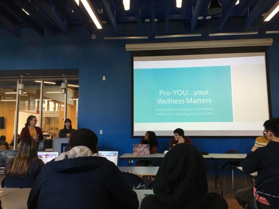 Residence Hall Association presenting their budget for a mental health and wellness event, cosponsored by Pace Cooks and Bakes, WPaw, FIRE, Psychology Club, and NATURE.