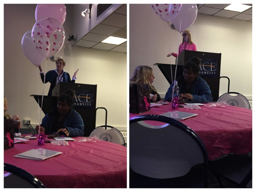 Colleges Against Cancer Faculty Adviser Sophie Kaufman and President Kristin McInerney addressing the crowd at the start of CAC's Think Pink event.