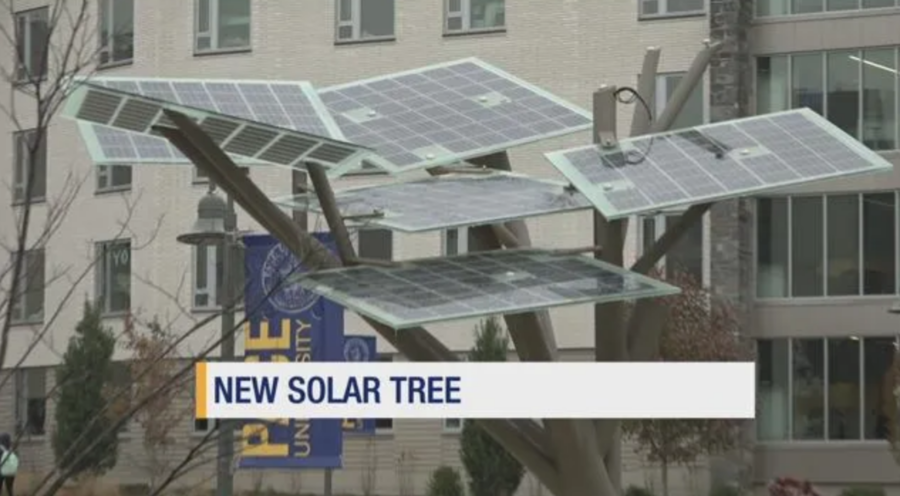 The new solar tree is located outside of Kessel.