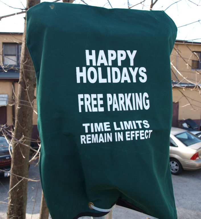 Holiday parking is in effect until after Christmas.