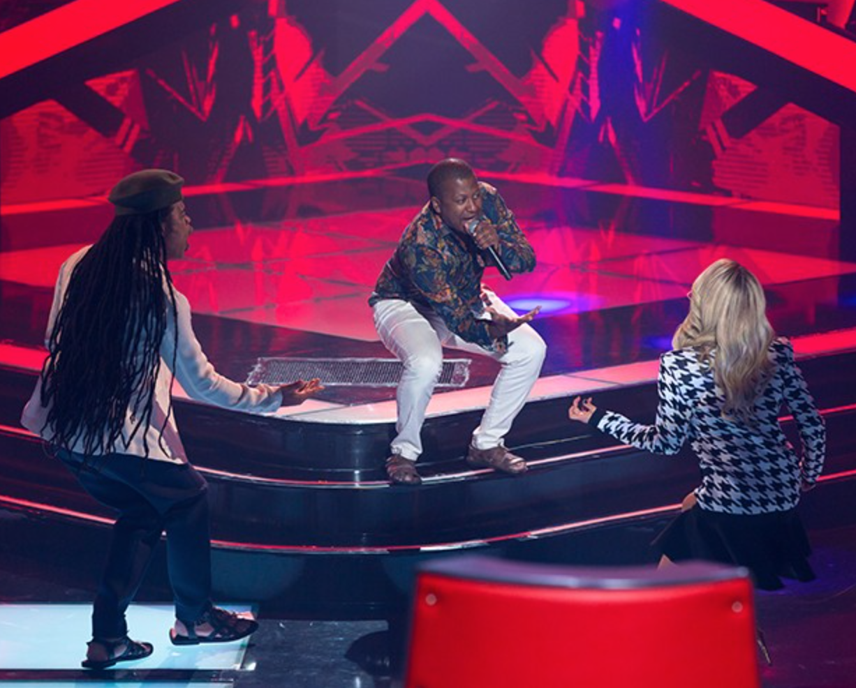 The Voice judges to not look at the contestants while they perform. This image was taken in July 2016.