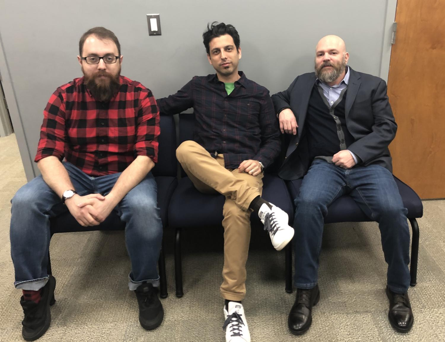From left: Pace MCVA professors Lou Guarneri, David, Freeman, and Paul Ziek, whse classes are working together this semester in a trifecta that will help promote punk rock bands from the Bronx.