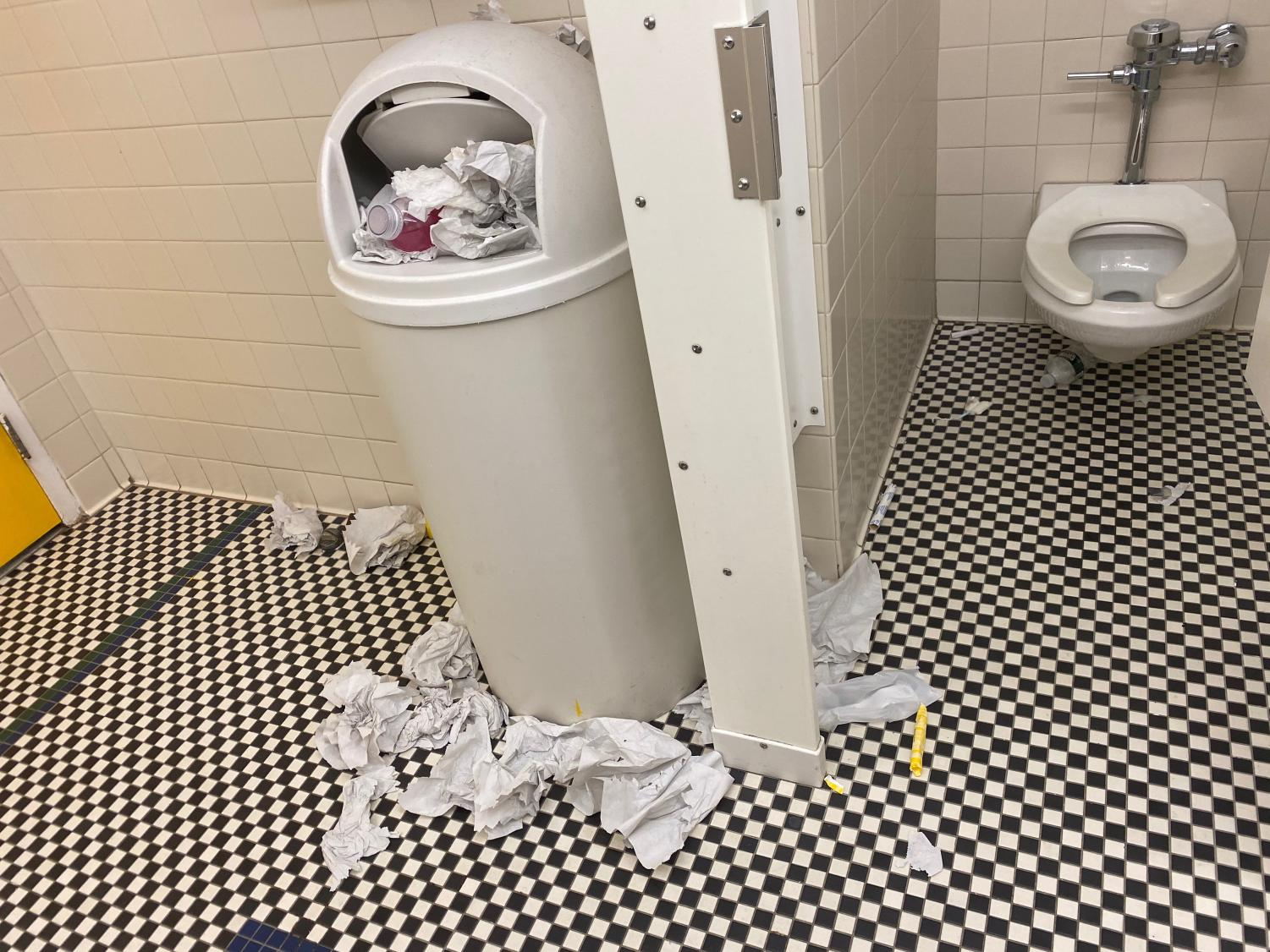 The girls bathroom on the third floor of Martin Hall at the start of the second week of the spring semester. Monday, February 3.