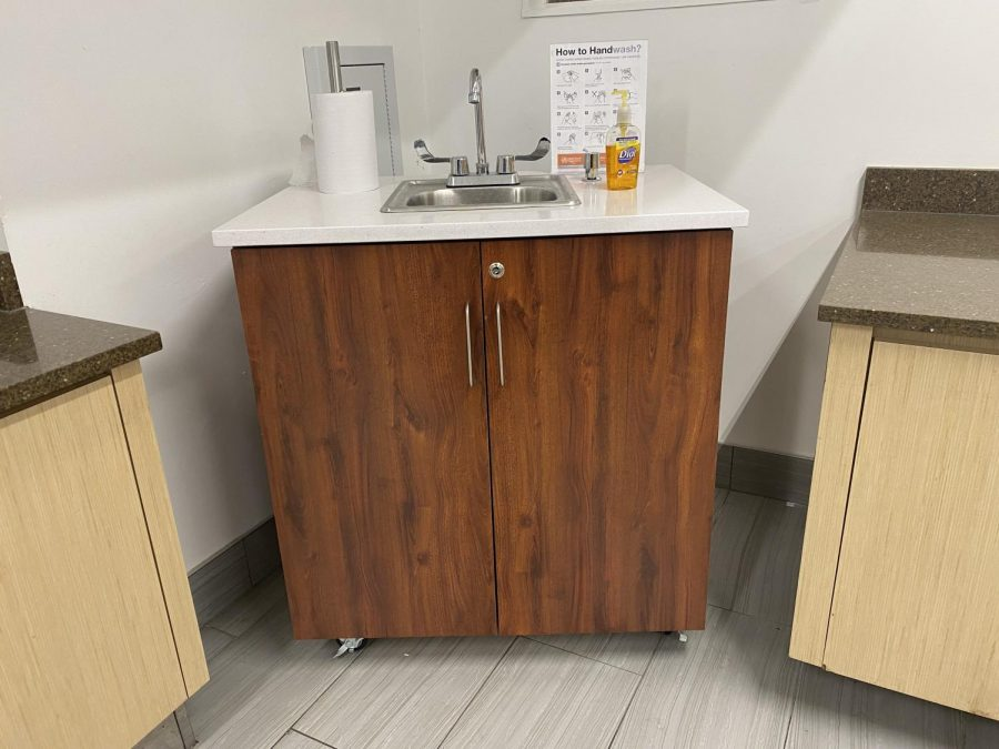 Pace set up a new hand washing station in the Kessel Student Center.