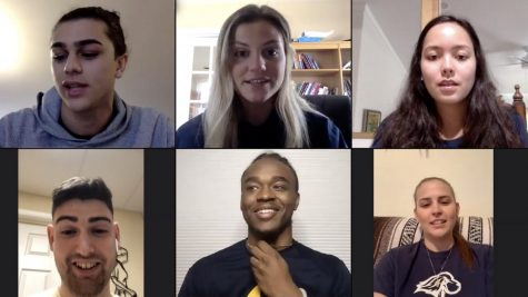 Pace Athletics tweeted a picture of this video chat taking place between student athletes on March 22 to preview the video they later released.