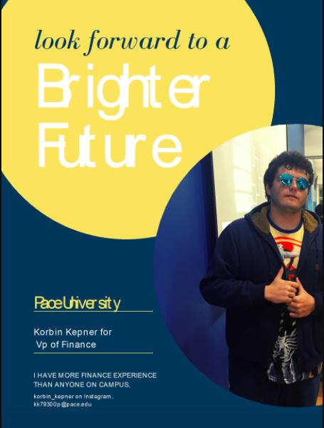 Korbin Kepner's campaign flyer for Vice President of Finance
