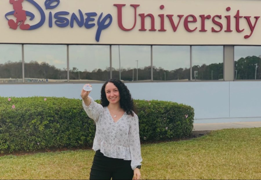 Decker+took+this+picture+after+she+successfully+completed+the+Disney+College+Program+training+and+received+her+official+badge.