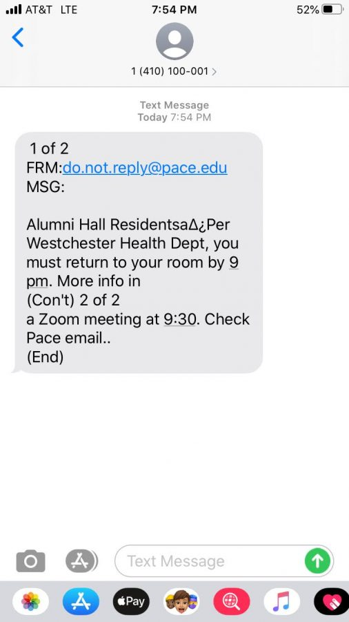 As of 9 PM on Thursday, Alumni Hall went into quarantine after it was discovered that 18 out of 20 of Pace's confirmed COVID cases are Alumni residents.