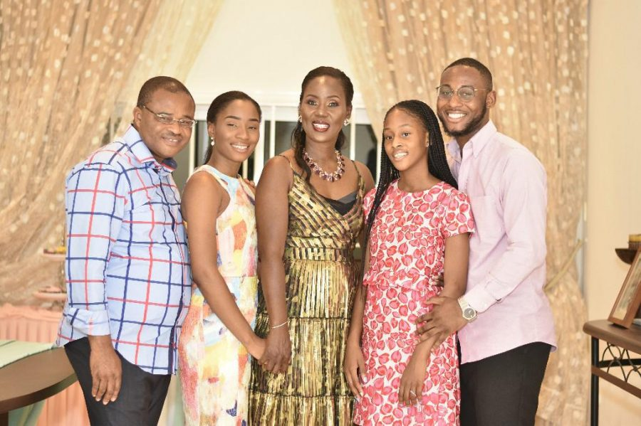 Bryan Abunaw with his family in Douala, Cameroon, January 2020.