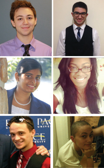 Top Row: President John Wrench, Executive Vice President Dan Garcia;  Middle Row: VP of Finance Jessica Varghese, VP of Programming Tameka  Bazile; Bottom Row: VP of Administration Edwin Rodriguez, VP of Unity  and Social Justice Rachel Aviles