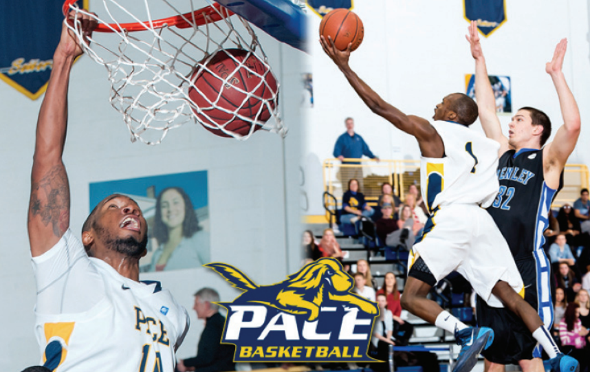 Pace Men's Basketball players Denzel Primus-Devonish and Jonathan Merceus are being awarded for their successful 201