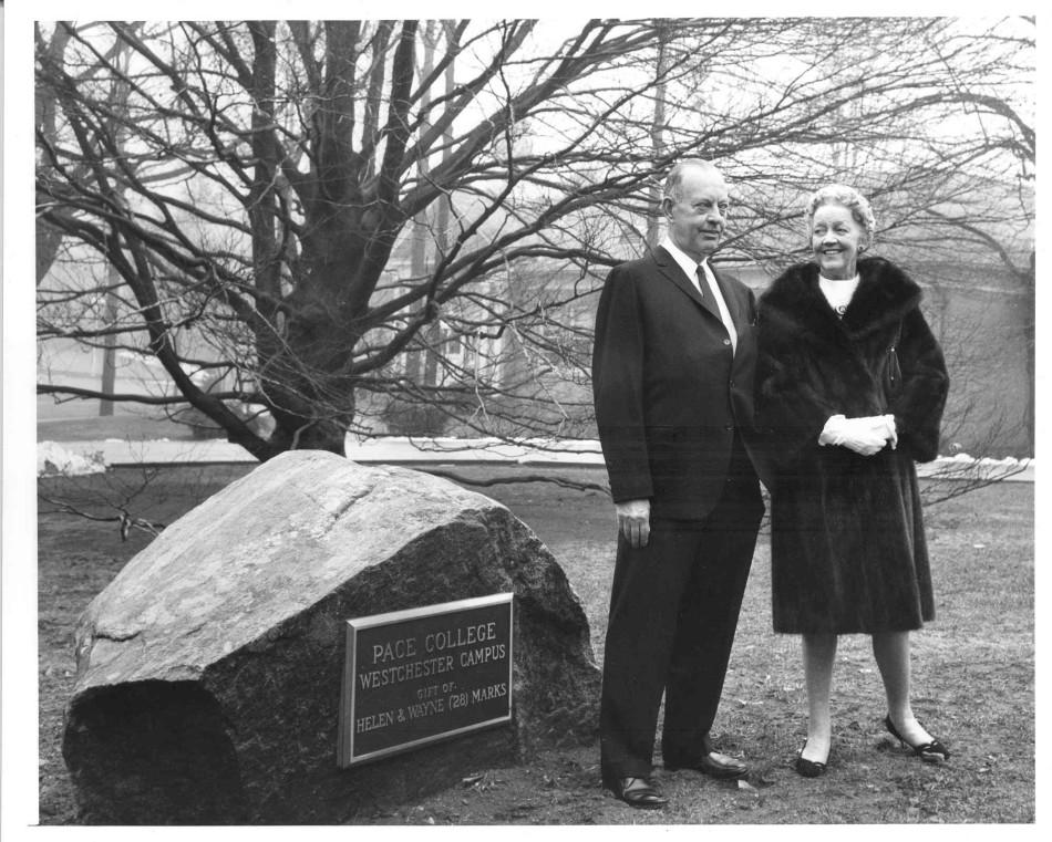 Wayne and Helen Marks can be seen standing next to the old copper beech tree that once stood in front of Marks Hall.
