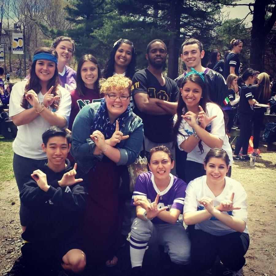 Members of Pace's Greek community gathered for a photo opportunity at this year's Greek Olympics