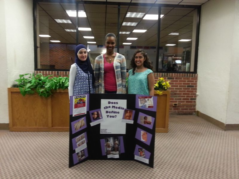 Students show off their project during the campus-wide event.