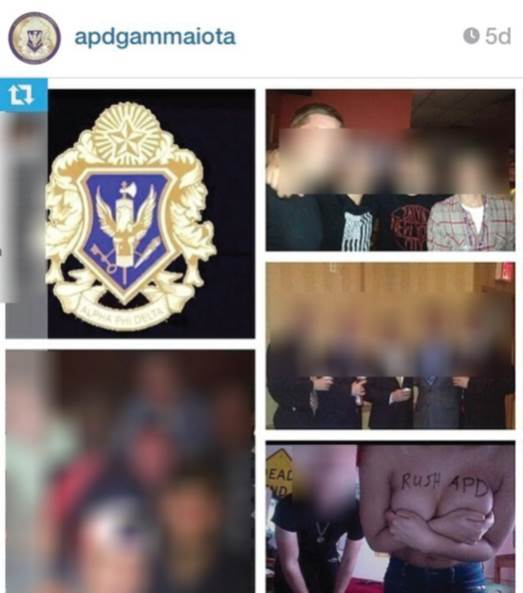 A recent photo on Alpha Phi Delta Fraternity's Instagram page shows a topless woman with their letters, APD, written across her chest.