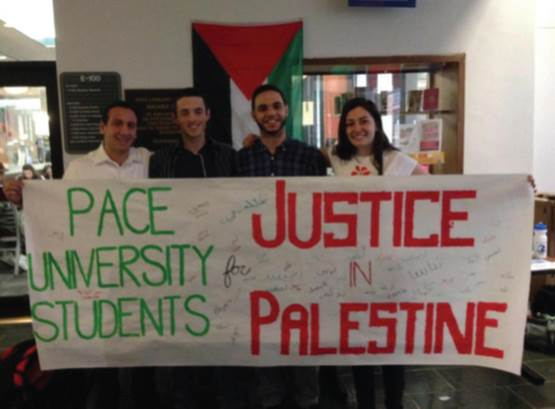 Students at Pace in New York Cite represnent their chapter of Students for Justice in Palestine (SJP).
