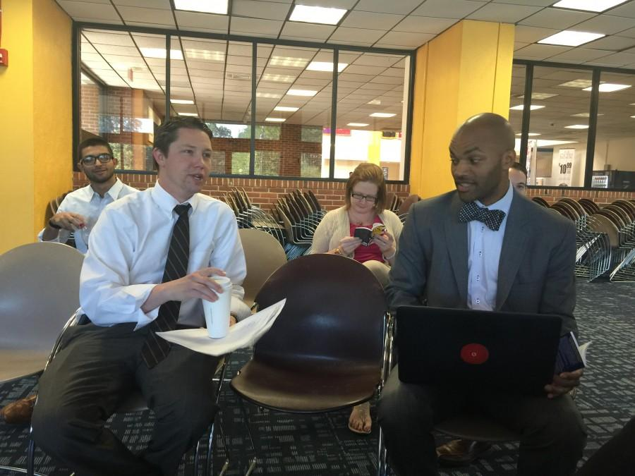 Senior Associate Director for Student Development & Campus Activities Shawn Livingston and Director of Multicultural Affairs & Diversity Programs Cornell Craig participate in the discussion.
