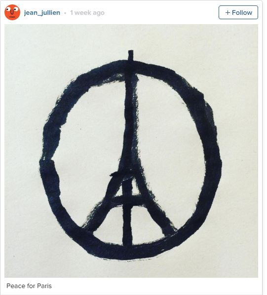 "French graphic designer Jean Jullien created the image, ""Peace for Paris."