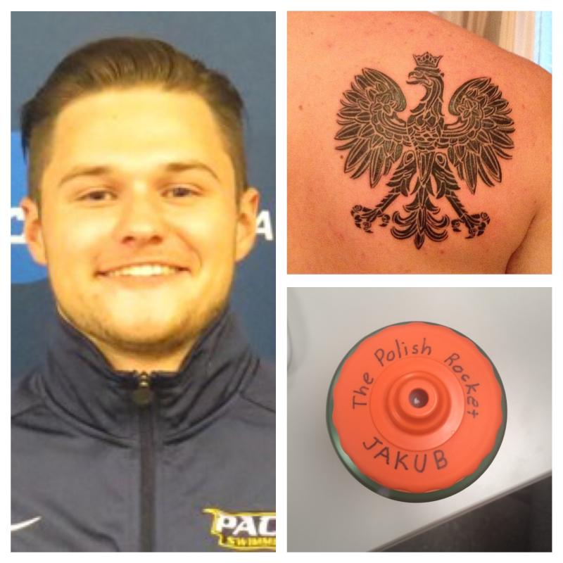 Jakub Lewandowski (left), a tattoo of the Polish Eagle (top right), and Lewandowski's nickname written on his Gatorade bottle.