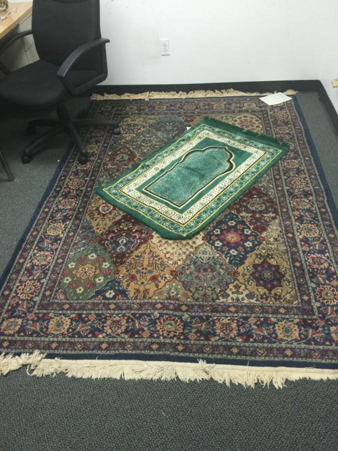 A Muslim prayer rug at the Interfaith Prayer Room.