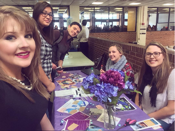 The Peace and Justice Society's new executive board at this month's involvement fair in Kessel Student Center. Photo from Instagram.com/peacejusticeplv