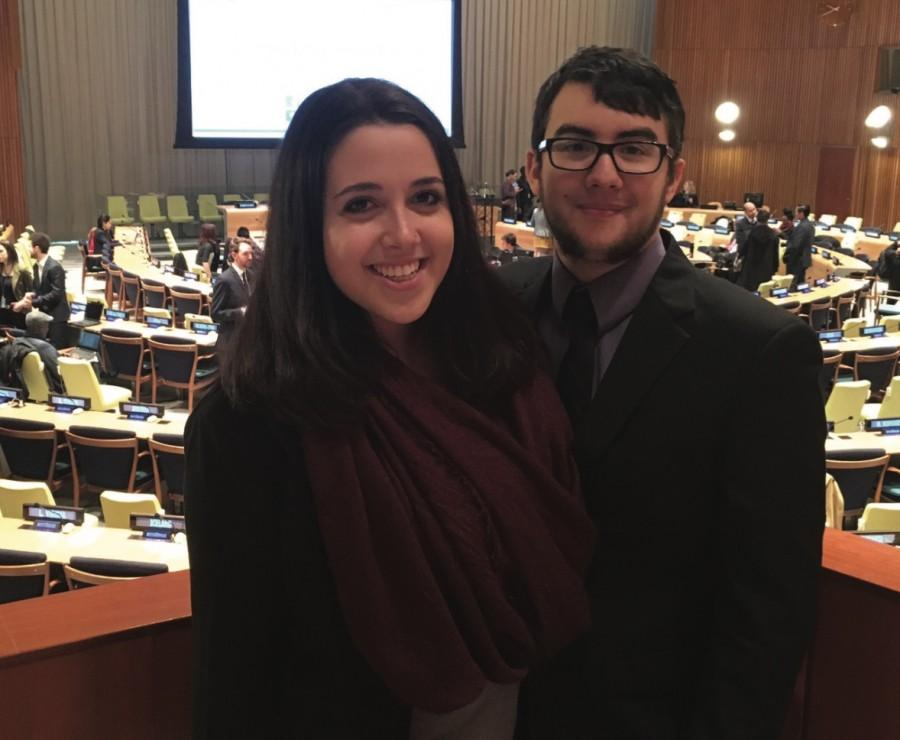 Model UN students Jonathan Vargas and Amber Morgan attend the youth summit at the United Nations. Photo provided by Jonathan Vargas.