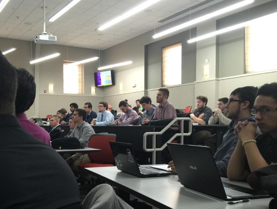 Members of Pi Lambda Phi Fraternity use the new Pecker Hall for their officer training conference. Photo by Joseph Tucci/The Pace Chronicle.