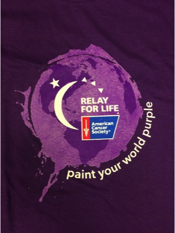 A shirt with the Relay for Life logo and their purple campaign. Photo by James Miranda/The Pace Chronicle.