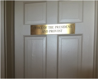 The door to the President's suite in Choate House. The Board of Trustees is taking the first steps in the search for a new university President. Photo by Joseph Tucci/The Pace Chronicle.